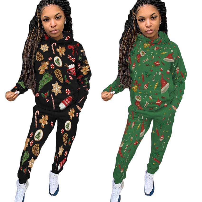 Mulheres Natal 2 peças set roupas roupas de manga longa hoodies calças sweatsuits s-2xl treino cair roupas de correr inverno DHL 4153