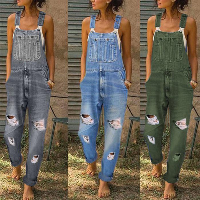 Plus Größe Hosenträger Jeans Frauen Designer Loch Denim Hose Mode Lässig Frauen Frauen Overalls Hosen 5XL