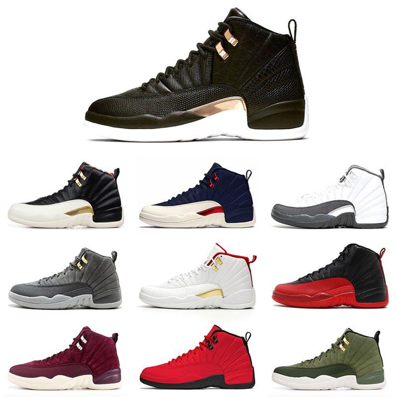 12 12s hommes chaussures FIBA grippe jeu Royal Université Gold Midnight Black Hot Punch Punch Perceuse Femmes Baskets Sport Sports Sport 7-13