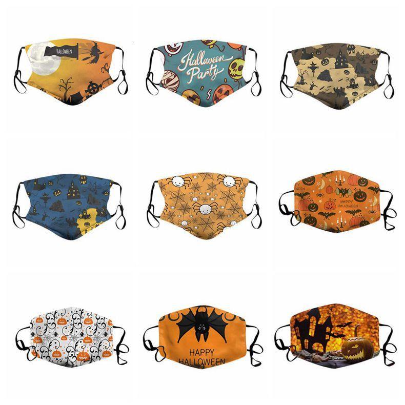 Niños de Halloween la mascarilla de cubierta de la historieta calabaza protector facial ajustable cubrir la boca reutilizable cara cubierta lavable a prueba de polvo máscaras LSK1171