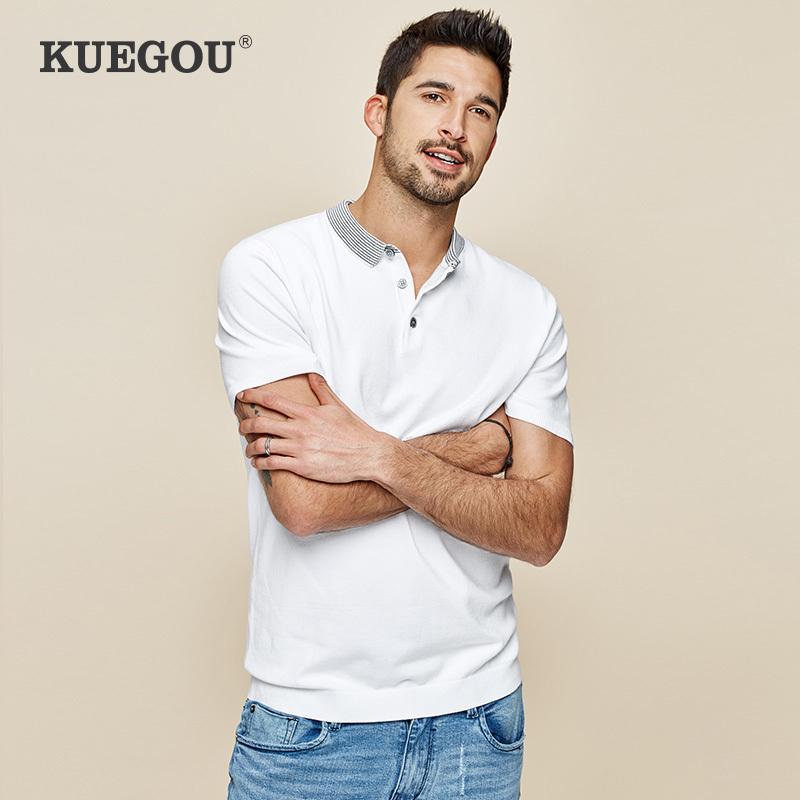 Kuegou homens polo camisas mangas curtas brancas moda azul moda listrada colarinho poloshirts verão homens slim top plus size az-17060