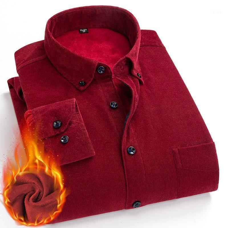 Qualidade Algodão Corduroy Camisa Manga Longa Inverno Regular Mens Casuais Quente Sólido Com Bolsos Outono Camisas Masculinas 5XL 6XL1