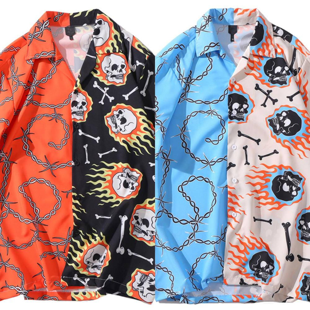 Bonita Vida Cadena de cráneo Estampado de hueso Patchwork Hawaiian Shirts Unisex Streetwear Hip Hop Casual Stave Harajuku Tops J1216