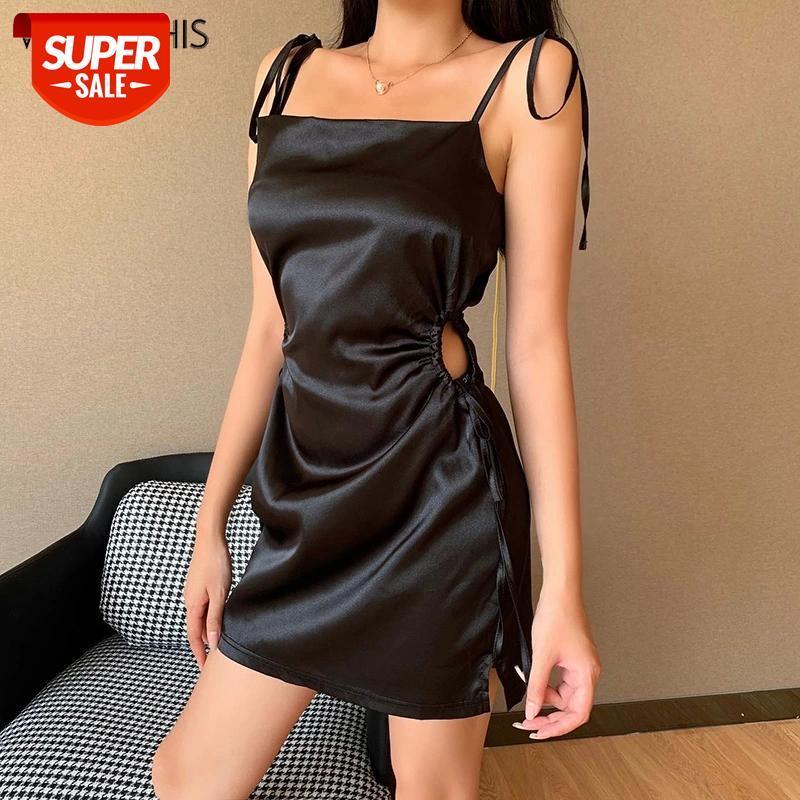Wannathis Spagetti Kayışı Bandaj Backless Slash Boyun Kolsuz Kadın Elbiseler Yan İplik Yaz Seksi Mini Elbise Oymak # MZ17