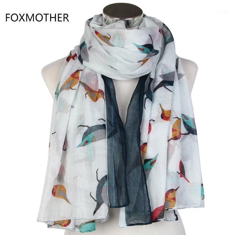 Scarves FOXMOTHER Fashionable Oversize 110cm*175cm White Grey Orange Bird Animal Beach Blanket Shawls Foulard For Women Gifts1