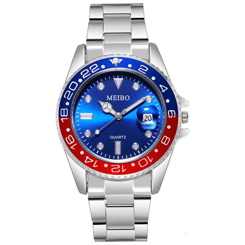 Чистая красная лупа календарь стальной ленты мужские часы живая вода призрак зеленые часы Meib