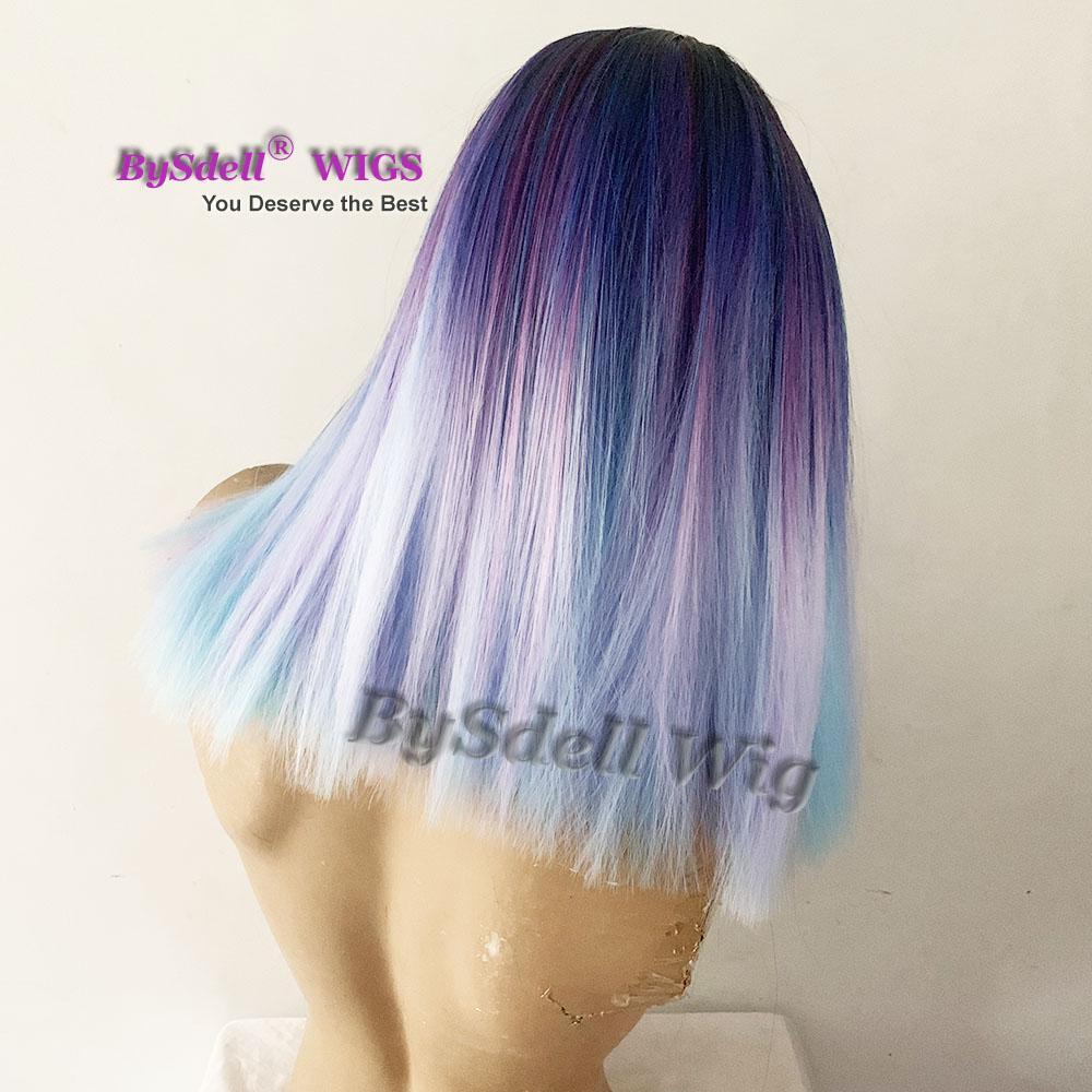 colored blue Cut medium shoulder length Hair Wig Top Quality synthetic fiber Hair mermaid rainbow hair Wigs for black/ white women