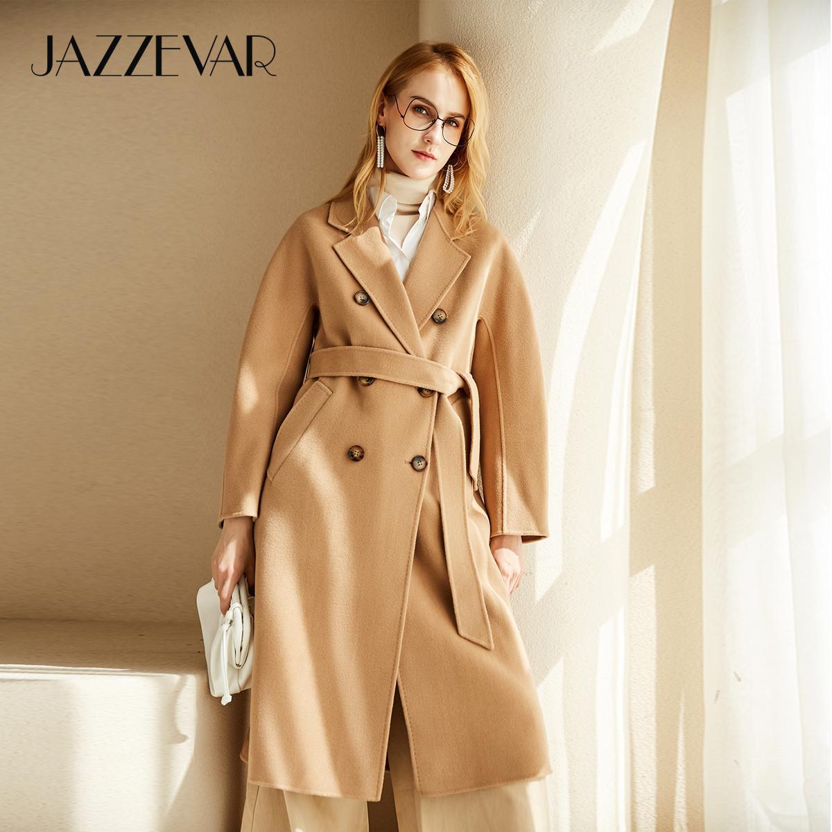 Donne JAZZEVAR Atumn inverno Nuovo arrivo cucito a mano doppio petto Cappotto di alta qualità doppia faccia abbigliamento per signora 201009