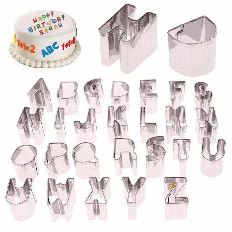 Кухня DIY 26 шт / комплект торт Cutter букв алфавита формы Mold Fondant Cookie Бисквит Mold # 259103 vJwk #