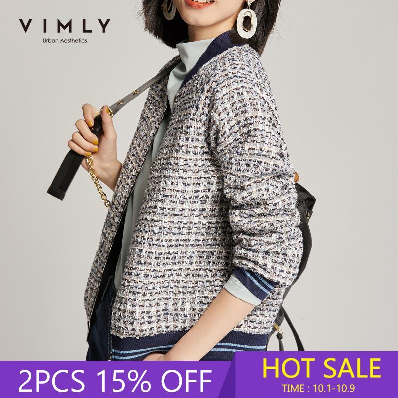 Vimly Chaqueta corta para mujer Ropa de invierno Mujeres Vintage Cremallera Patchwork Chaquetas Tweed Femme Veste 97902 201007