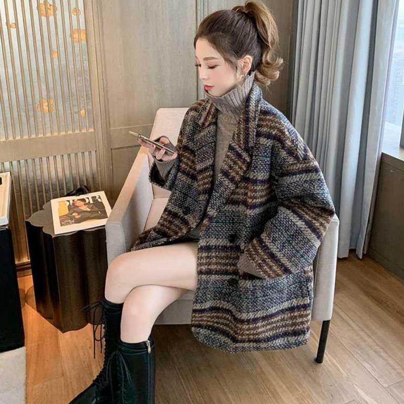 2020 новый костюм куртка женщин осенью и зимой свободный маленький плед твид среднего и длинные густые шерстяные пальто женщины
