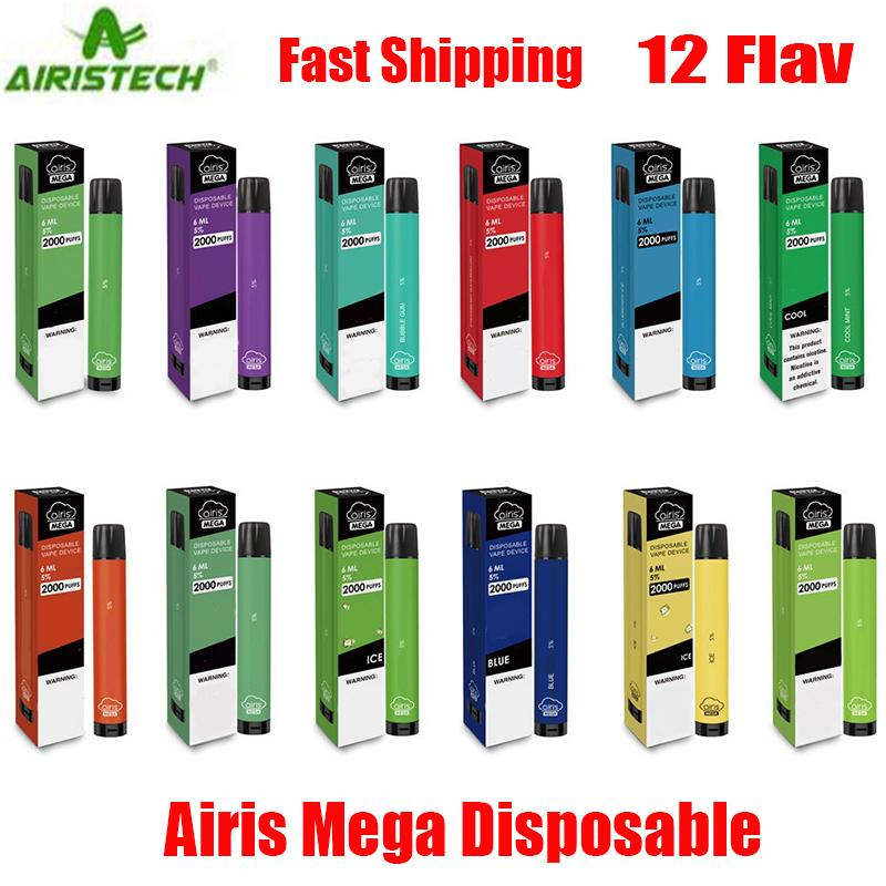 Airis original dispositivo desechable Mega Pod 2000 Puff 1050mAh 6 ml precargada portátil Vape Palo bar más el flujo de Bang XXL Max 100% auténtico