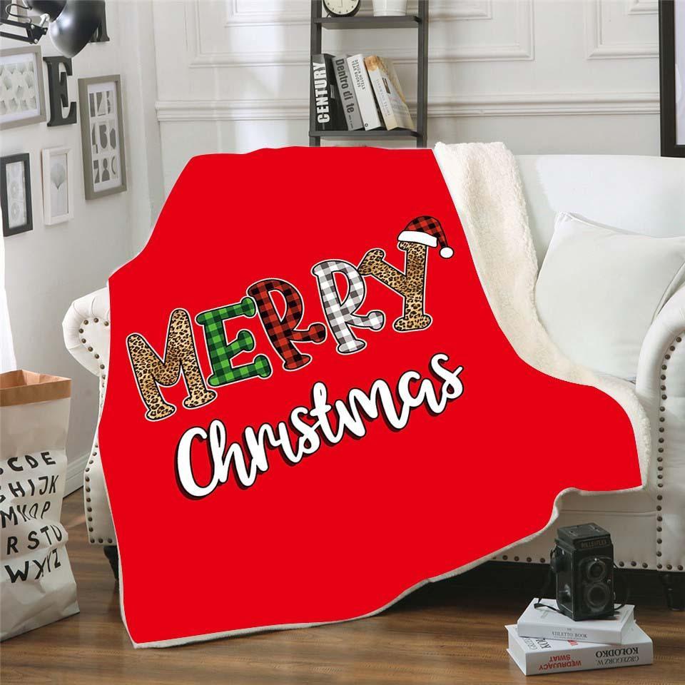 Kids Christmas Blanket Leopaid Thick Sherpa Fleece Blankets Soft Warm Sofa Throw Towel Quilt Christmas Decorations w-00396