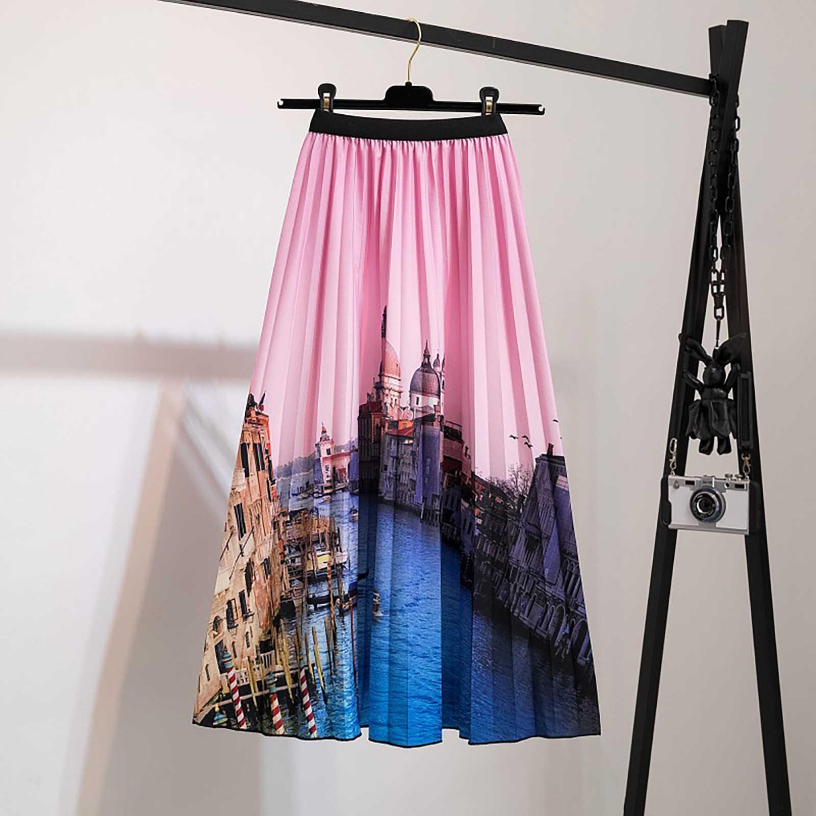 A cintura elástica feminina impressa meio comprimento com grande bainha plissada A-line Skirt Cardata Con Elastico em Vita e Gonna Plisset
