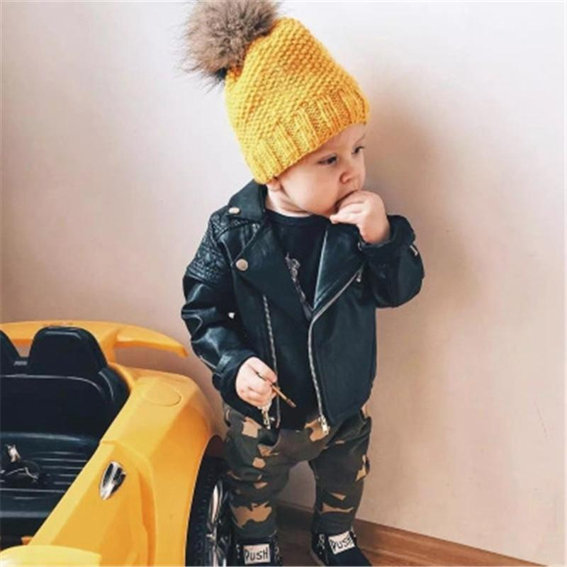 Baby Girls Boys Clothes Coat For Children's Motorcycle leather jacket Fashion PU Leather jacket For Children Overwear Jacket Y200831