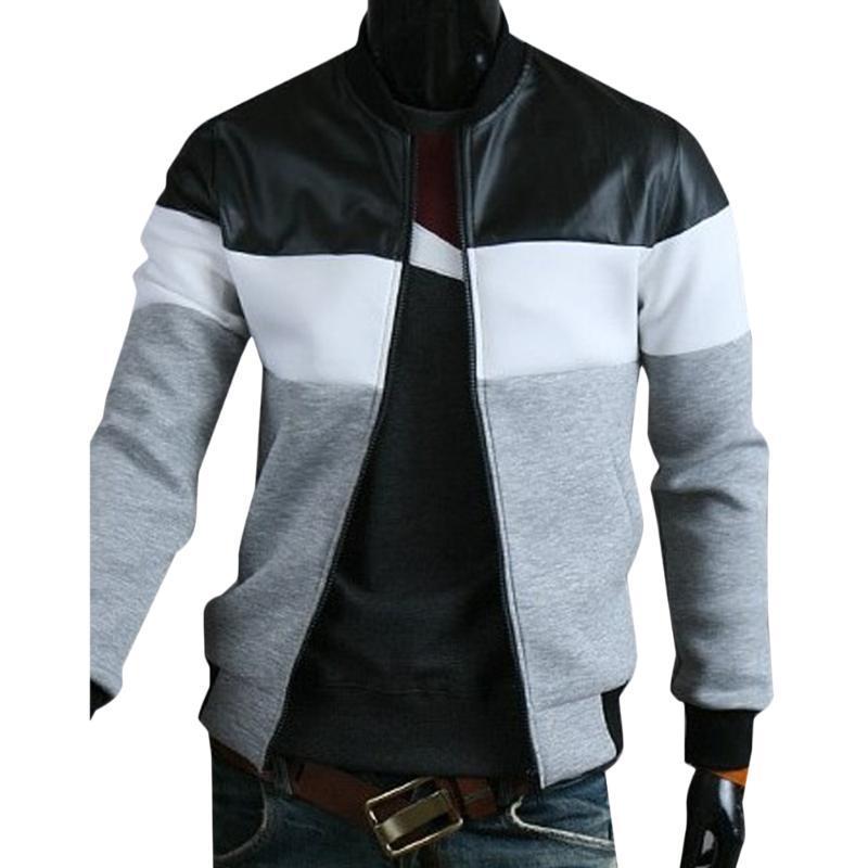 Куртка Мужская мода Тенденции одежды Цвет блокировки на молнии пальто Мужская длинная рукава повседневная EUREWARE L-3XL мужская бомбардировщик куртка