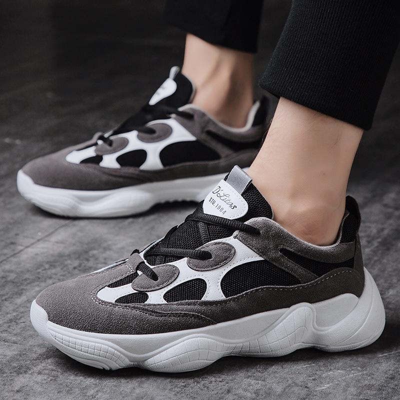 Marca Men Sneakers New alta qualidade Flock + malha calçados casuais Plataforma Man Loafers respirável Primavera Outono instrutor Moda Verão