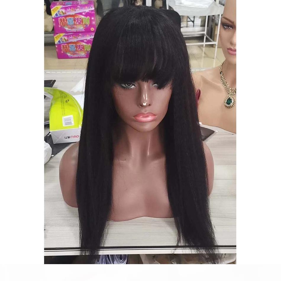 Peruviano Parrucche diritta crespa umani parrucche dei capelli con la frangetta nera naturale del Virgin dei capelli Coarse Yaki Glueless Parrucche