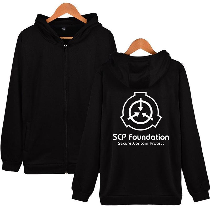 SCP Fundación Moda Hombres Mujeres Sudaderas cremallera chaquetas de chándal casual tops de manga larga con capucha caliente Harajuku sudaderas 4XL