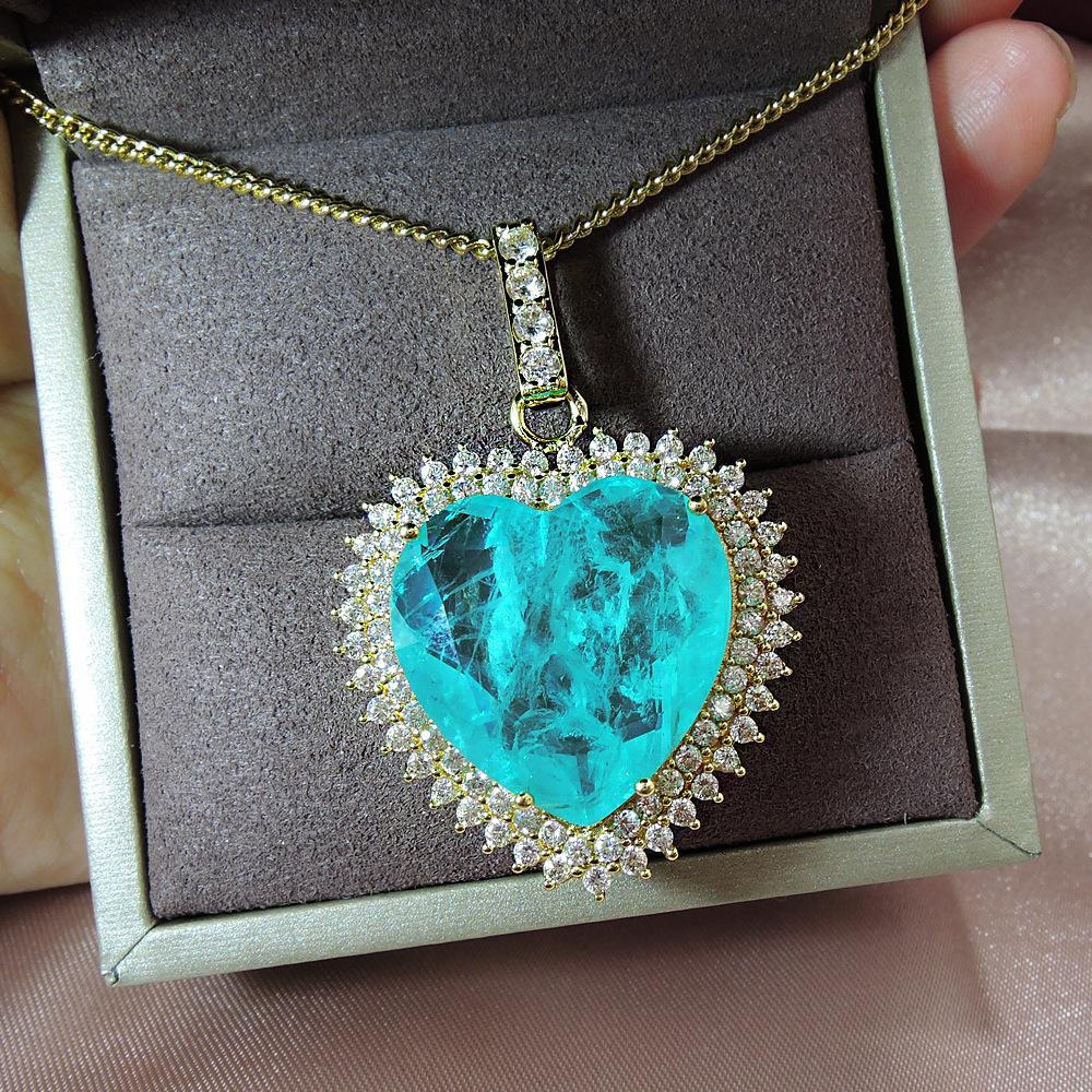 Aiyanishi 100% 925 Стерлинговое серебро 20x20mm Дизайн сердца Paraiba Tourmaline Драгоценные камни Ожерелья для женщин День Рождения Ожерелье