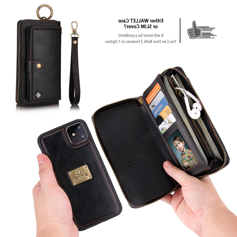 Porte-monnaie flip en cuir pour iPhone 11 Pro 11Pro X XS MAX XR 6 6s 7 8 Plus cas Card Holder Sac de téléphone Stand Cover Coque