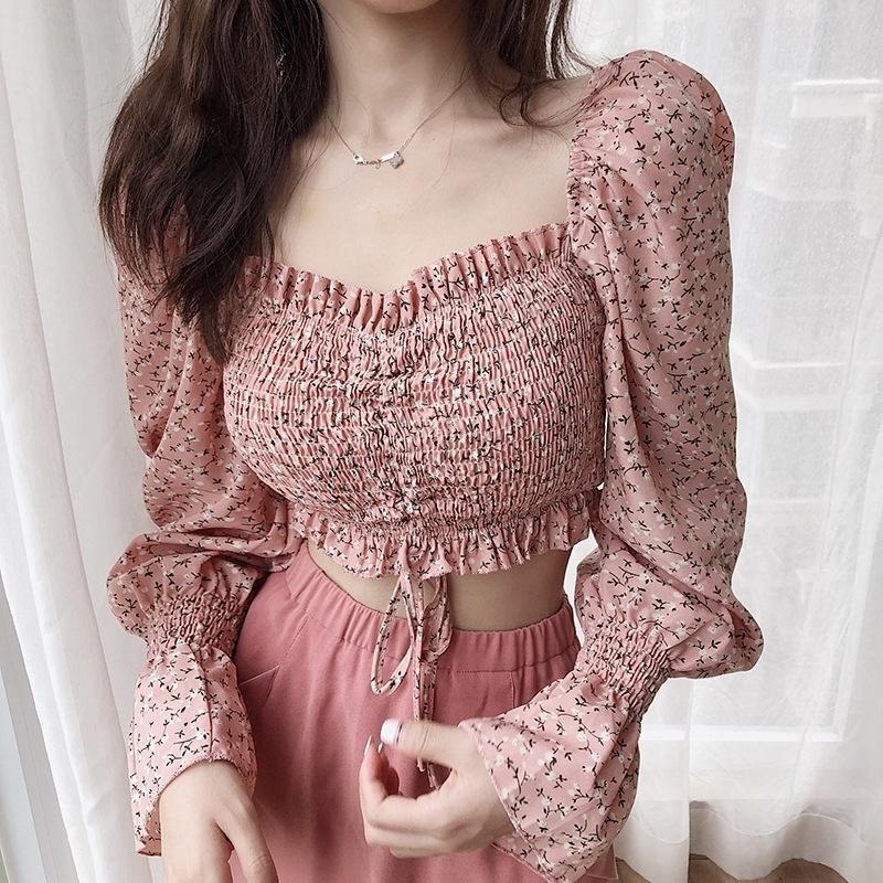 Mulheres camisetas Flor de Streetwear Impressão Lace Quadrado Pescoço Manga Longa Elástica Crop Top com Cordão Slim Fit Roupas