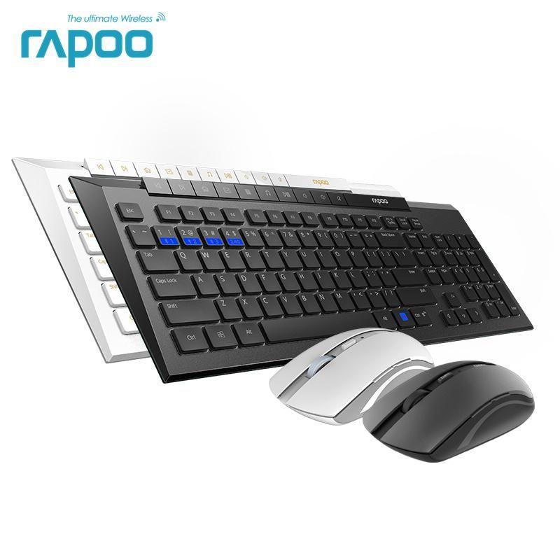 New Rapoo 8200M Multi-Modo silencioso sem fio Teclado Mouse Combos Bluetooth 3.0 / 4.0 RF 2.4G alternar entre 3 dispositivos de conexão