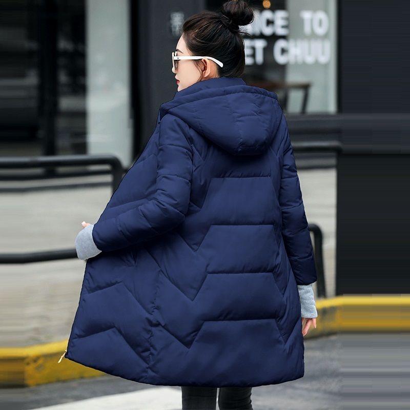 Guantes de la manera de las mujeres más el tamaño de la capa del invierno del otoño con capucha 6xl Parkas algodón caliente por la chaqueta Mujer largo abrigo