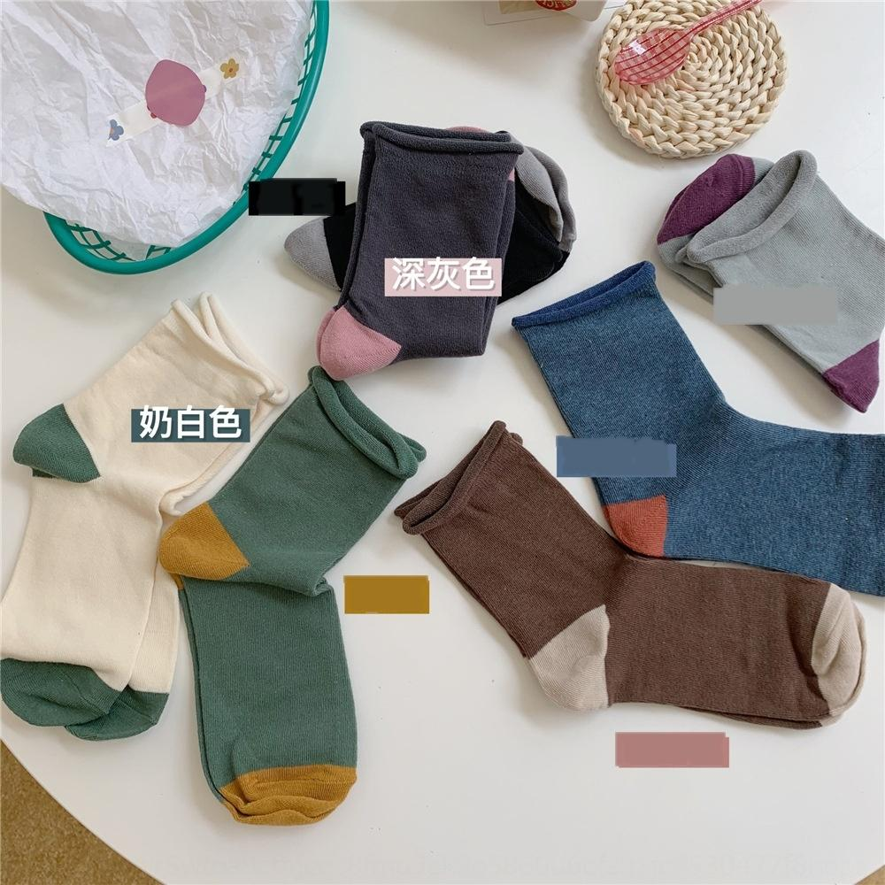 arte eY1r8 2020 otoño encrespado literatura mediados tubo de algodón medio medianas de las mujeres y la moda Ioulor color sólido calcetines versátil IMN algodón calcetines