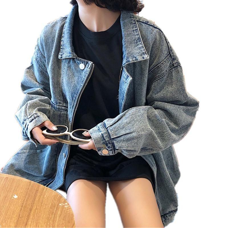 Outono mulher denim jaqueta feminina vintage vire para baixo colarinho solto manga longa jeans jaqueta casacos e jaquetas mulheres