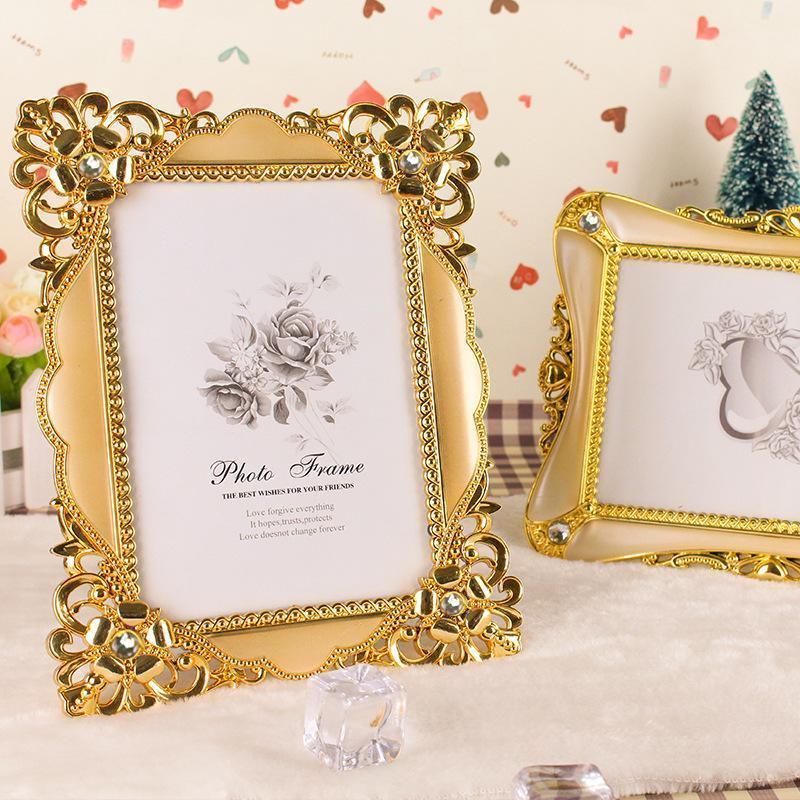 Marco de fotos de lujo de la vendimia, oro plata de escritorio, marco de escritorio, regalo de Navidad para amiga familia1