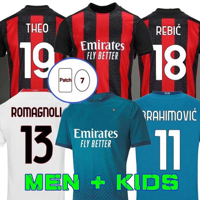ميلان 20 21 كرة القدم جيرسي AC Ibrahimovic Kessie Bennacer Romagnoli 2020 2021 كرة القدم قميص ث عبء مايلوت الرجال + أطفال كاكا