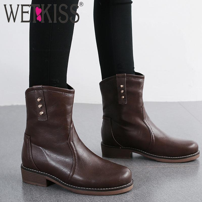 WETKISS Rivet Ankle Boots Women Motorcycle Boot Female Casual Thick Heels Shoes Ladies Round Toe Shoes Winter Big Size 34-481
