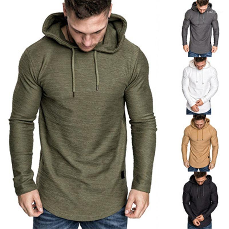 Loose Pullover Tshirt Mens Solid Colors Tshirt Clothing Fashion Trend Long Sleeve Casual Hooded Tops Tees Spring Male New Irregular Hem