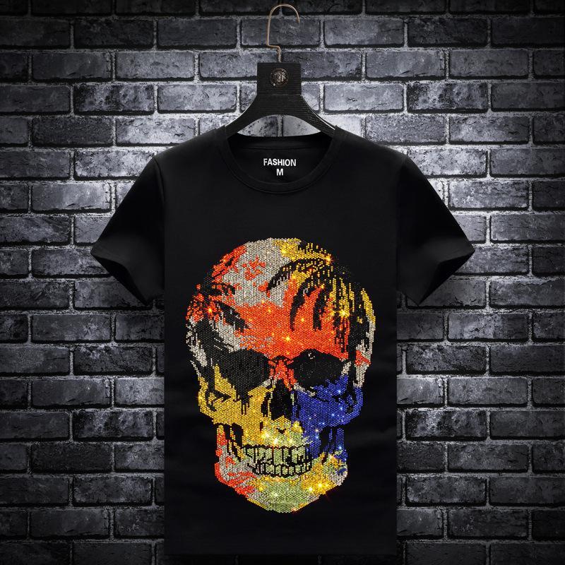 Artı boyutu 2020 Moda Kafatası Rhinestones T Shirt Erkekler Marka Kısa Kollu Adam Streetwear O Yaka İnce Tshirts Calaveras Camiseta 1021