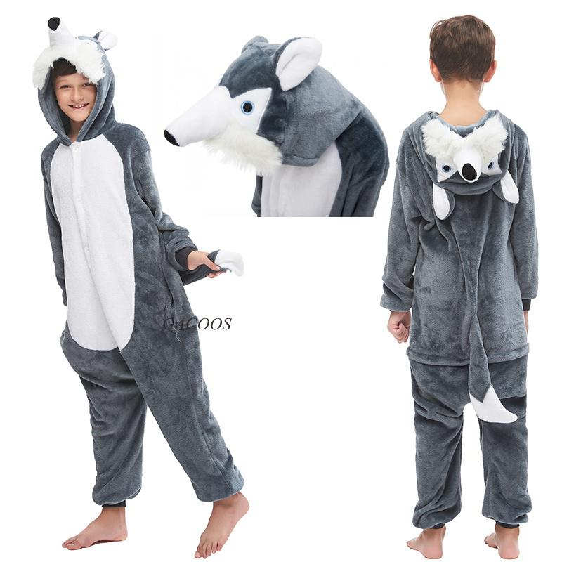 Unicorn Pyjama de nuit pour les garçons filles Kugurumi Flanelle Tenues Winter Wolf Pyjama animaux Enfants Onesies enfants Pijamas