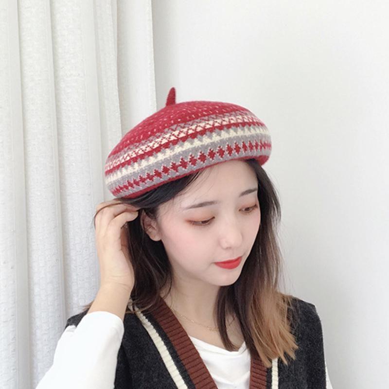 Шерсть высокого качества Берет Женщины Winters плед Шляпы Шерсть береты Женщины Классический Войлок Теплый французский художник Hat 6 Цвет