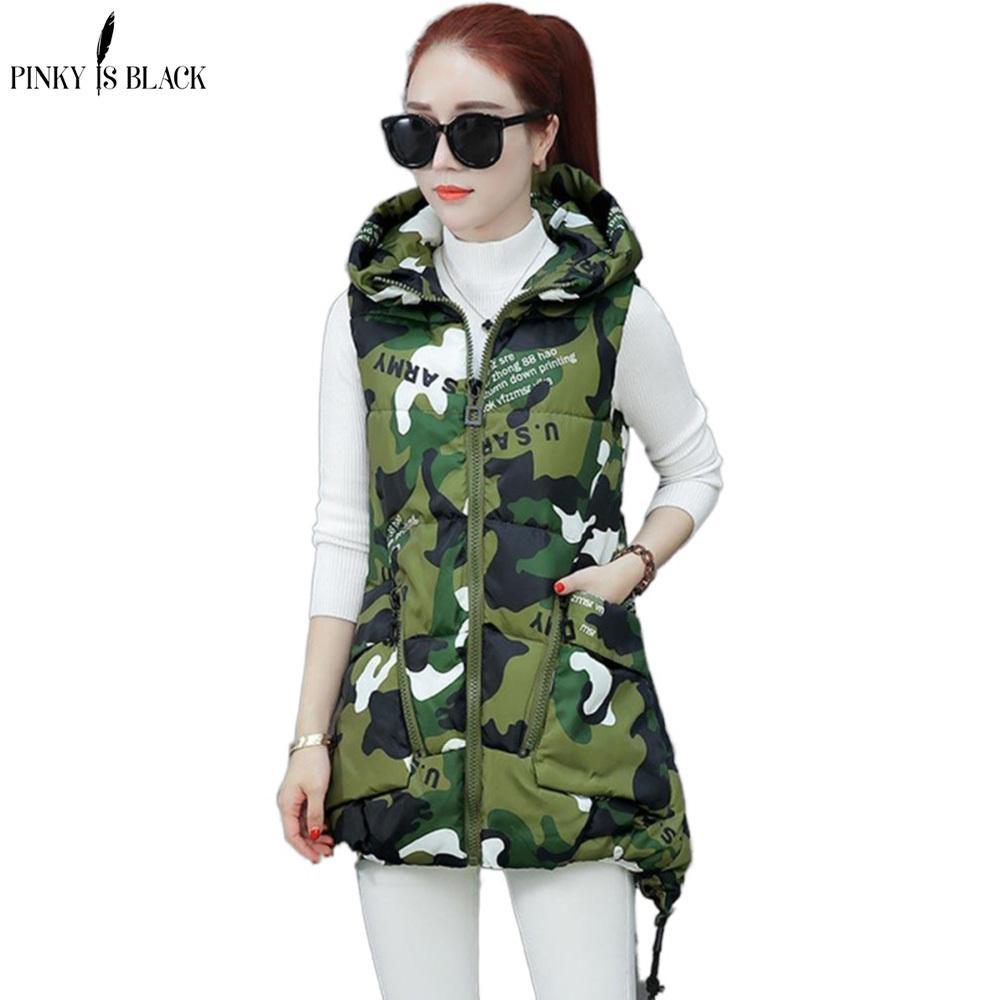 Pinkyisblack 2020 новый зимний жилет женщин вскользь осень зима без рукавов жилет с капюшоном длинный теплый хлопок мягкий жилет куртка T200820
