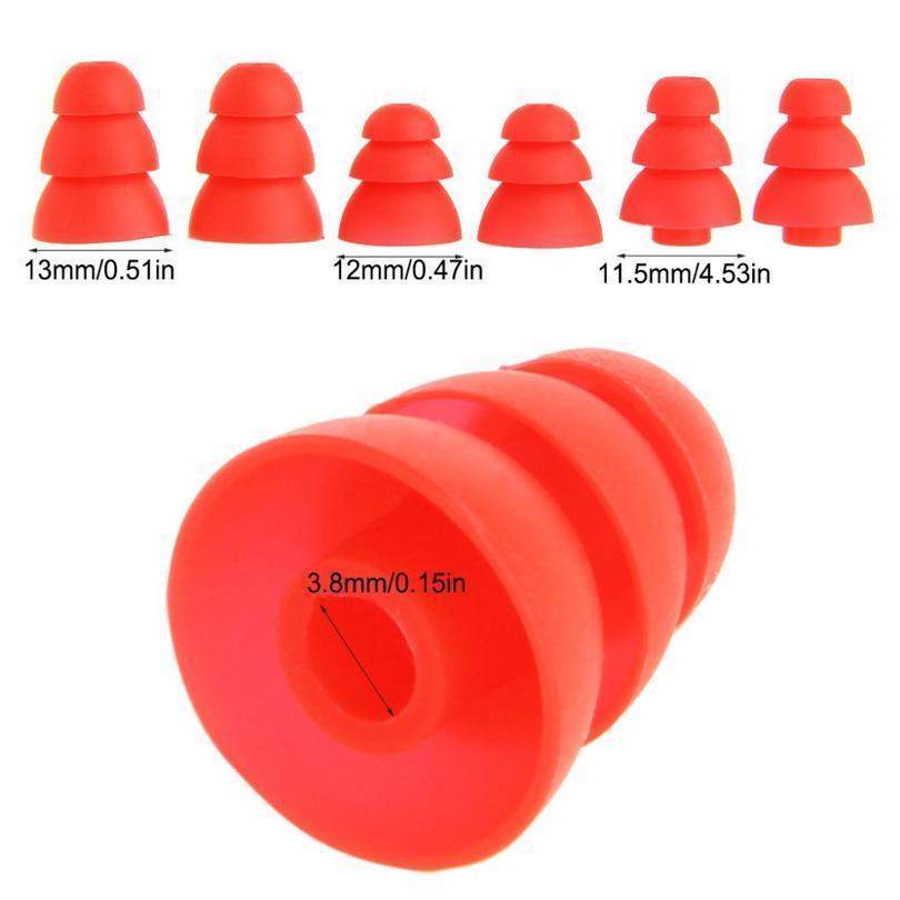 Ivinxy 6 pcs três camadas sile in-ear fone de ouvido tampas de tampão replacementação bronzear bud dips earbuds fones de ouvido teatro almofadas de ouvido sqcopy