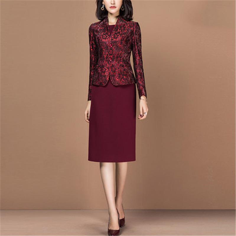 Kadın Yüksek Kalite Ofisi Giyim Elbise Suit Burgonya İnce Ceket 2 İki adet Seti Kıyafet İş Giyim Kadın Plus Size Z3