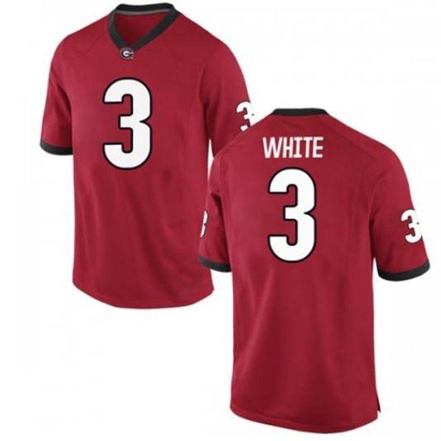 Männer Dame und Jugend UGA Bulldogs Zamir White # 3 White Red Black Real Full Stickerei Jersey Größe S-4XL oder Benutzerdefinierte Name oder Nummer Jersey