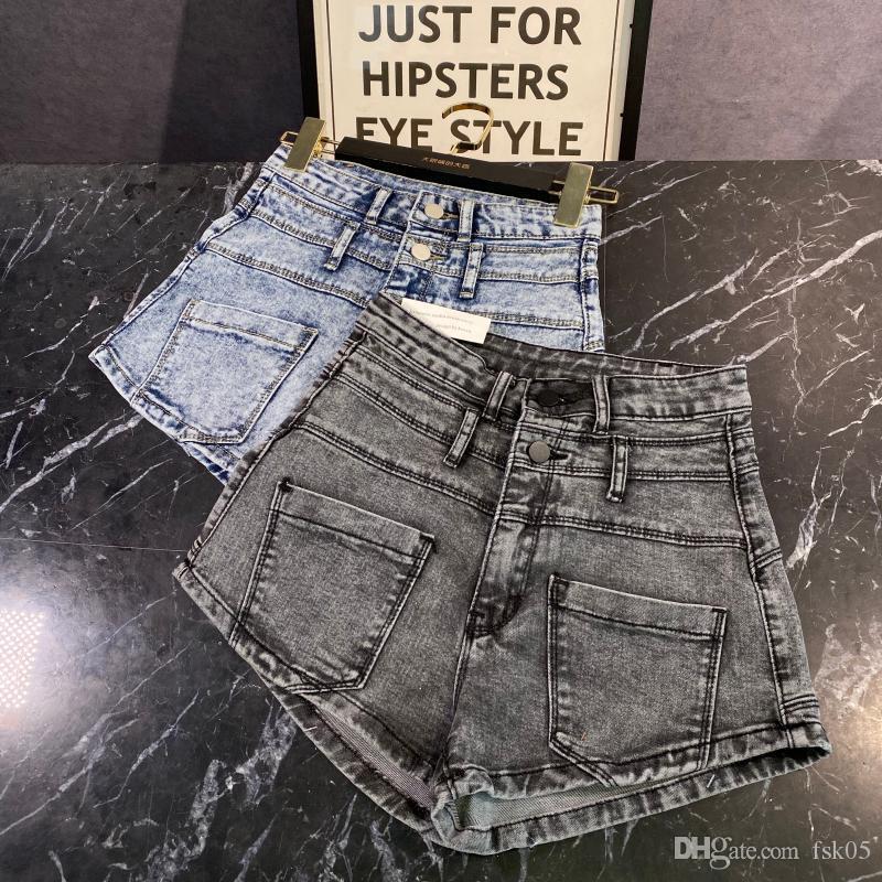 2020 Sommer Denim Shorts New Fashion Double Pocket Wash Elastic Slim High Taille Denim Shorts Hotpants