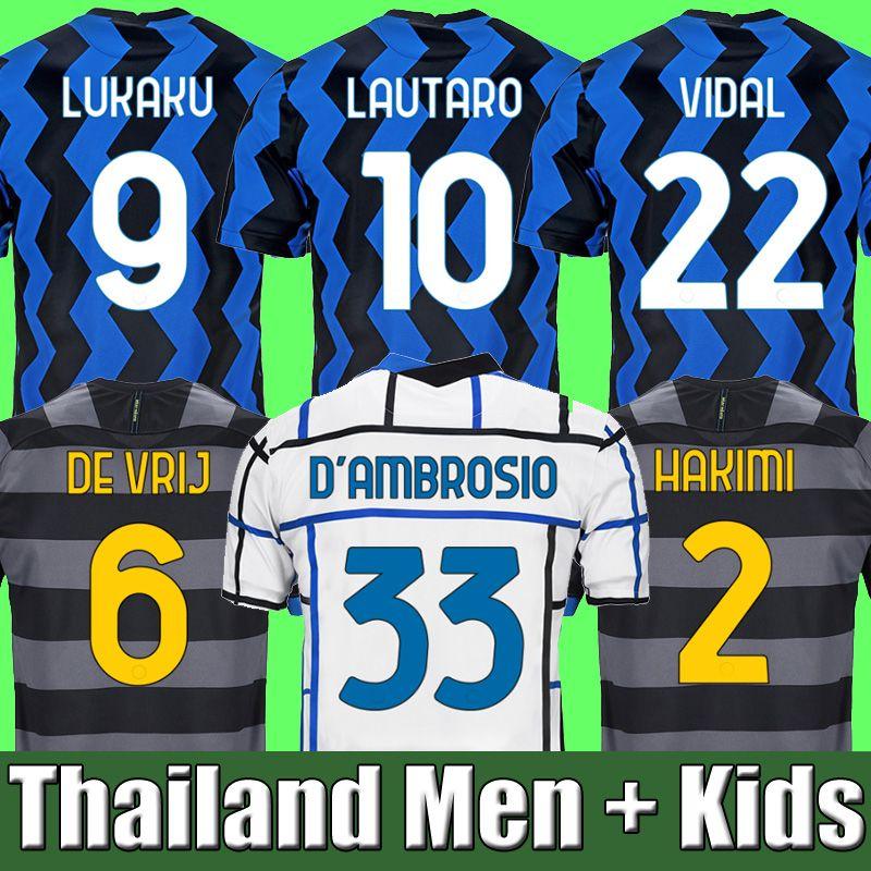 2020 2021 VIDAL ERIKSEN LUKAKU LAUTARO Inter home away Milan soccer jerseys BARELLA 20 21 football top shirt Men Kids Kits sets uniform