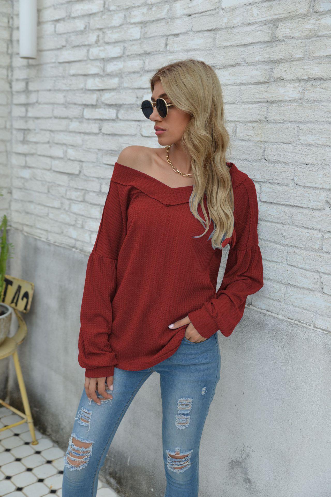 2020 Damen Herbst Mode Langarm V-Ausschnitt Top Sexy off Schulter Massive Farbe Hemden Für Damen Weiblich