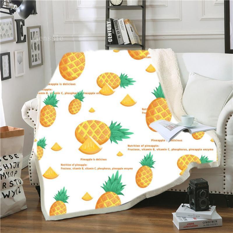 Ананас бросает одеяло фрукты пользовательские одеяло золотые лист шерпа флис тропический плюшевый микрофибр постельное белье