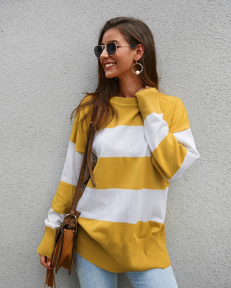 Invierno nueva cuello redondo de manga larga de la costura de la impresión ocasional del suéter con bandas de tejidos