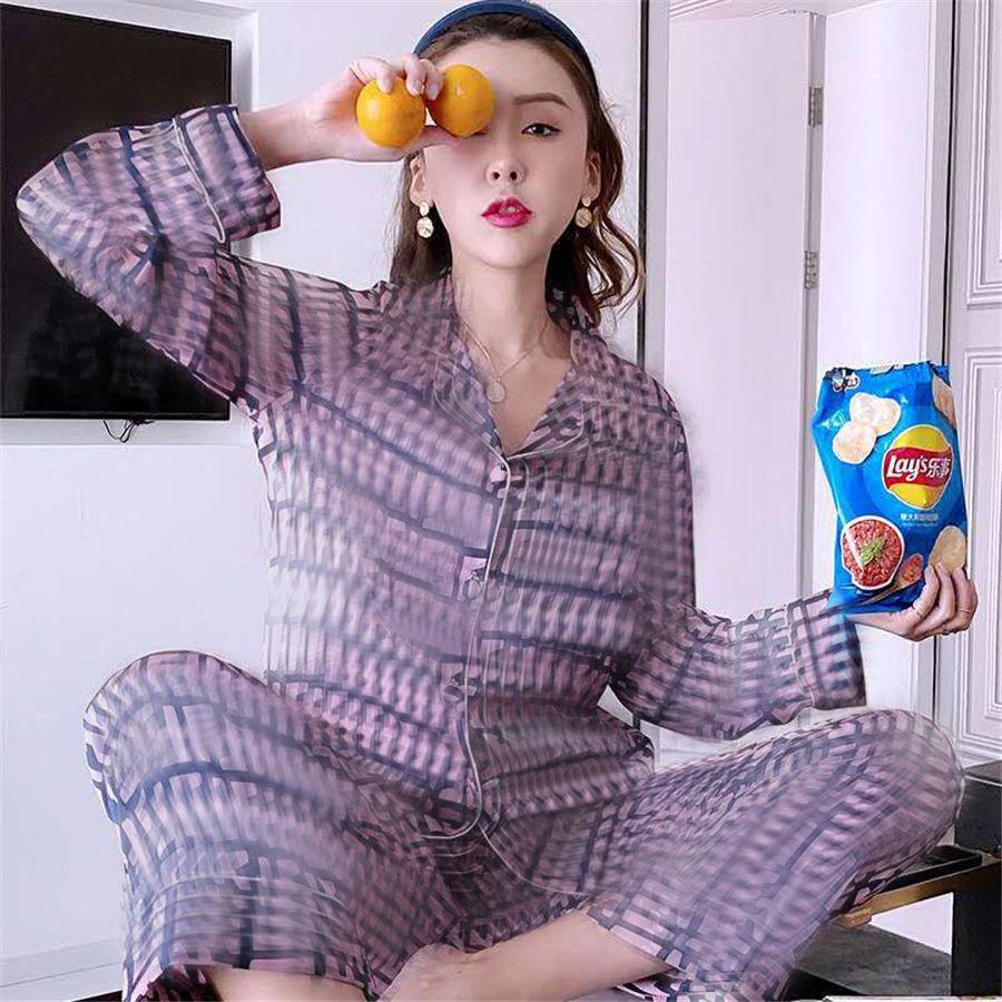 I I Silk Pajamas 2021 Новые новые пижамы зима Wite с длинным рукавом шелковые женщины ОМЕЙ PAJAMAS Dener # 248 # 50700