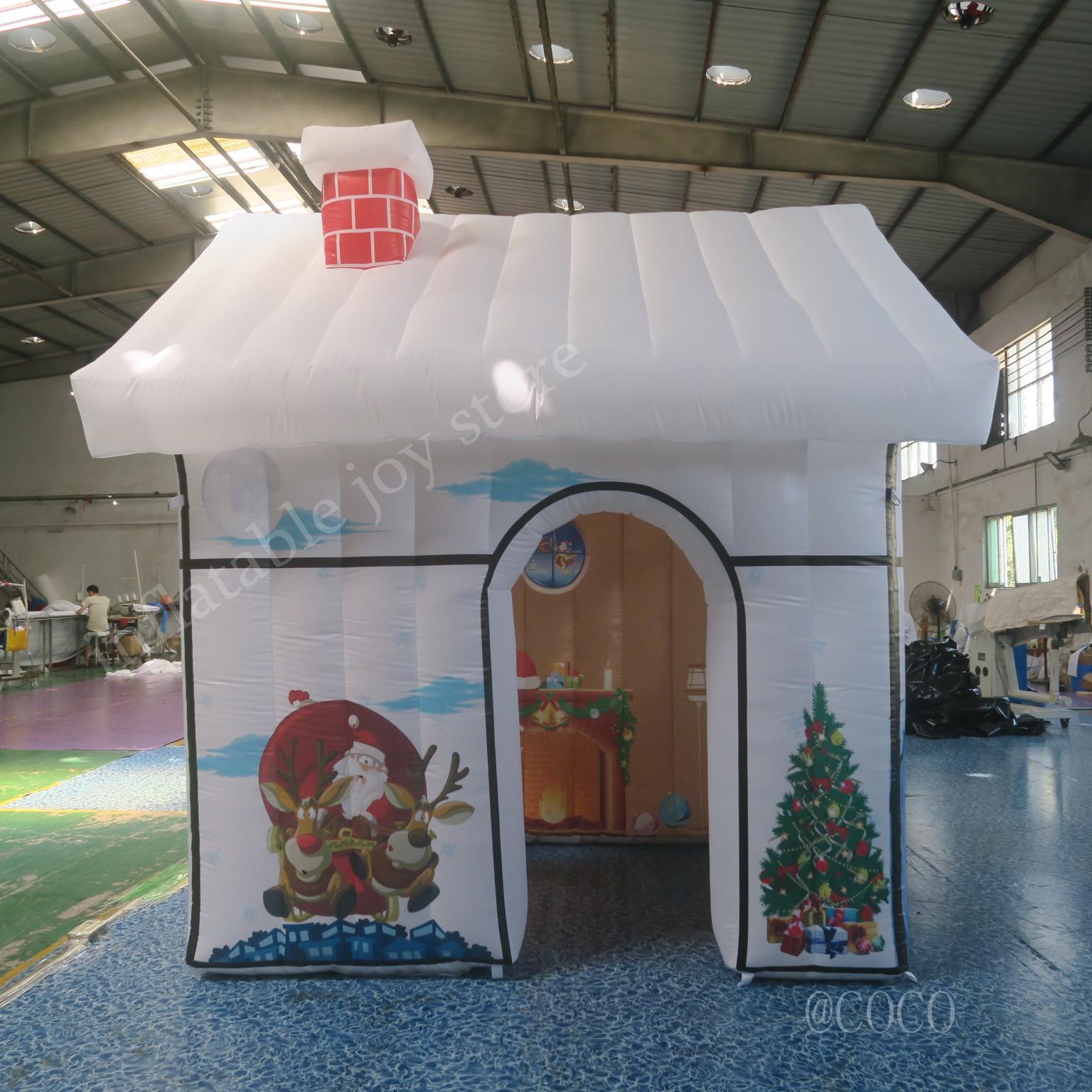 3x3x2.5mH белый надувной Рождество дом для продажи, на открытом воздухе украшения надувной Санта дом Санта-Клаус