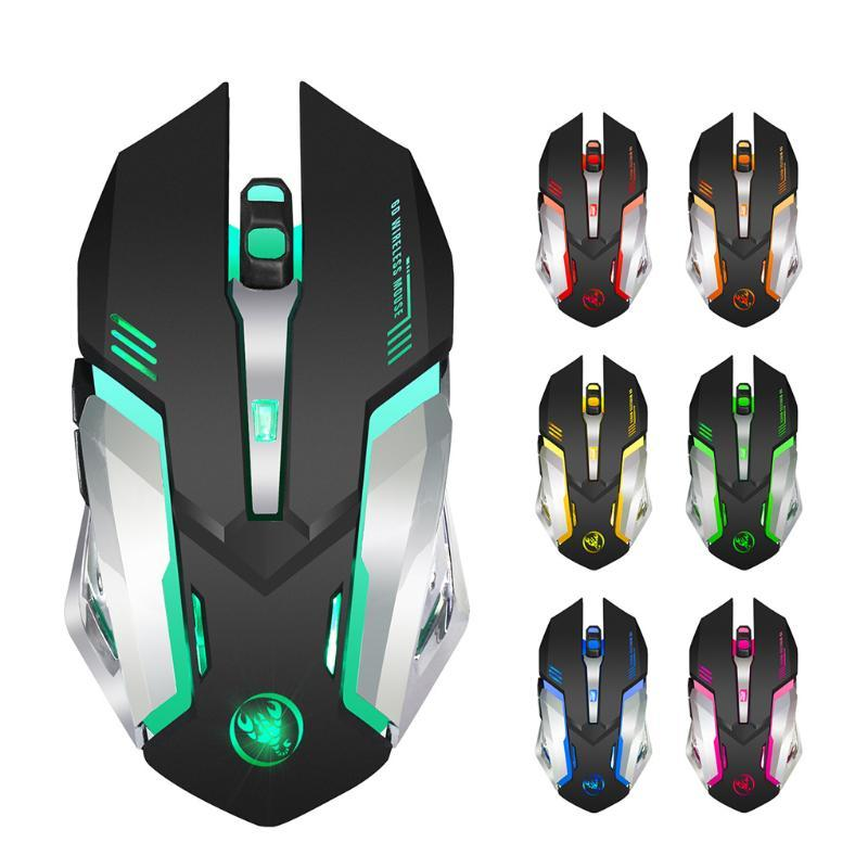 Rechargeable 2.4G Wireless Mouse 7 Color Breathing Light Computer Mouse 6 Buttons Gaming for Desktop Computer Laptop