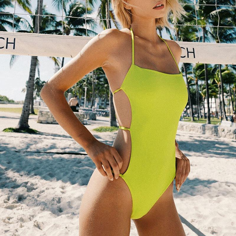 Women's Swimsuit 2020 Solid Color One Piece Bikini Bath Suits Sexy Backless Halter Swimwear Swimsuits Summer Beach Wear Bikinis 1006